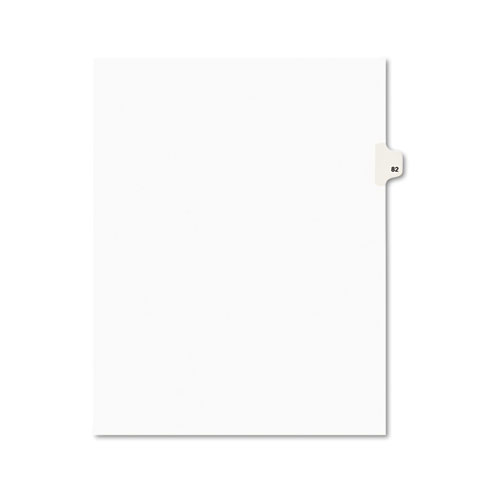Preprinted Legal Exhibit Side Tab Index Dividers, Avery Style, 10-Tab, 82, 11 x 8.5, White, 25/Pack | by Plexsupply