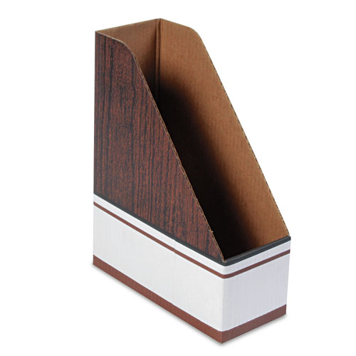 Corrugated Cardboard Magazine File, 4 x 9 x 11 1/2, Wood Grain, 12/Carton | by Plexsupply