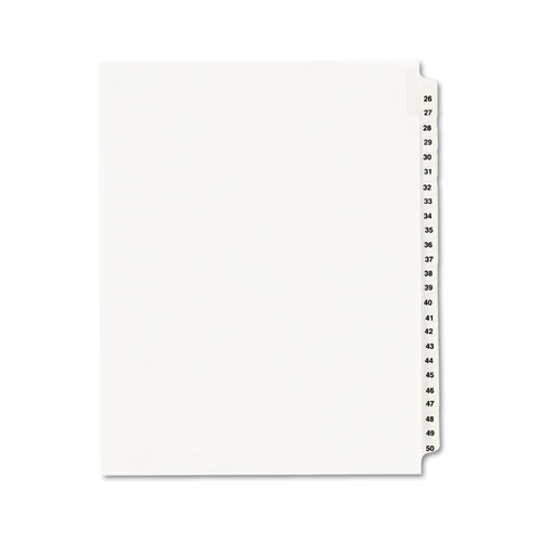 Preprinted Legal Exhibit Side Tab Index Dividers, Avery Style, 25-Tab, 26 to 50, 11 x 8.5, White, 1 Set | by Plexsupply
