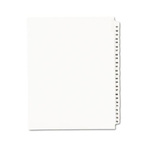 Preprinted Legal Exhibit Side Tab Index Dividers, Avery Style, 25-Tab, 51 to 75, 11 x 8.5, White, 1 Set | by Plexsupply