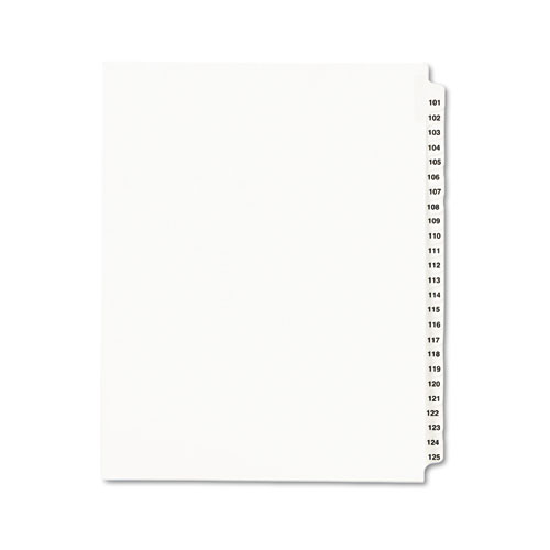 Preprinted Legal Exhibit Side Tab Index Dividers, Avery Style, 25-Tab, 101 to 125, 11 x 8.5, White, 1 Set | by Plexsupply