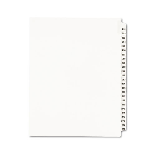 Preprinted Legal Exhibit Side Tab Index Dividers, Avery Style, 25-Tab, 251 to 275, 11 x 8.5, White, 1 Set | by Plexsupply