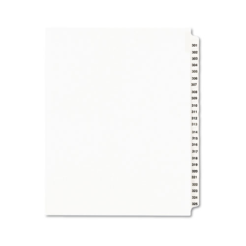 Preprinted Legal Exhibit Side Tab Index Dividers, Avery Style, 25-Tab, 301 to 325, 11 x 8.5, White, 1 Set | by Plexsupply