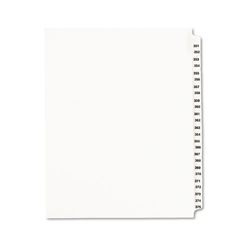 Preprinted Legal Exhibit Side Tab Index Dividers, Avery Style, 25-Tab, 351 to 375, 11 x 8.5, White, 1 Set | by Plexsupply