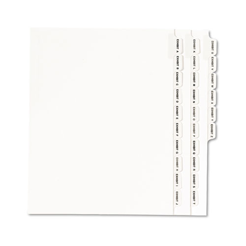 Preprinted Legal Exhibit Side Tab Index Dividers, Avery Style, 26-Tab, Exhibit A to Exhibit Z, 11 x 8.5, White, 1 Set | by Plexsupply
