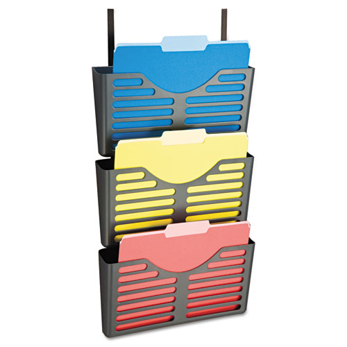 Filing System w/Hanger Set, 3 Pockets, Letter, 28 x 13 1/2 x 4 3/4, Charcoal | by Plexsupply