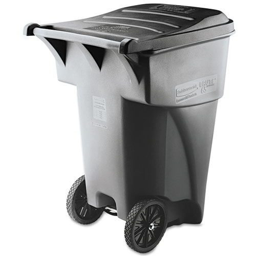 Rubbermaid® Commercial Brute Rollout Heavy-Duty Waste Container, Square, Polyethylene, 95 gal, Gray