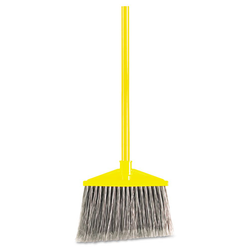 "Angled Large Broom, Poly Bristles, 46 7/8"" Metal Handle, Yellow/Gray 