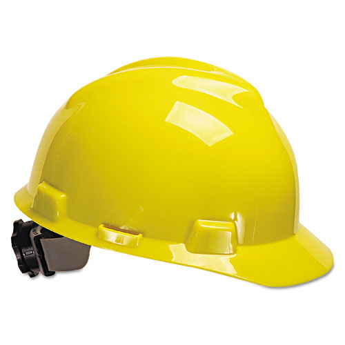 MSA V-Gard Full-Brim Hard Hats, Ratchet Suspension, Size 6 1/2 - 8, White