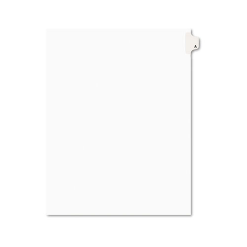 Preprinted Legal Exhibit Side Tab Index Dividers, Avery Style, 26-Tab, A, 11 x 8.5, White, 25/Pack | by Plexsupply