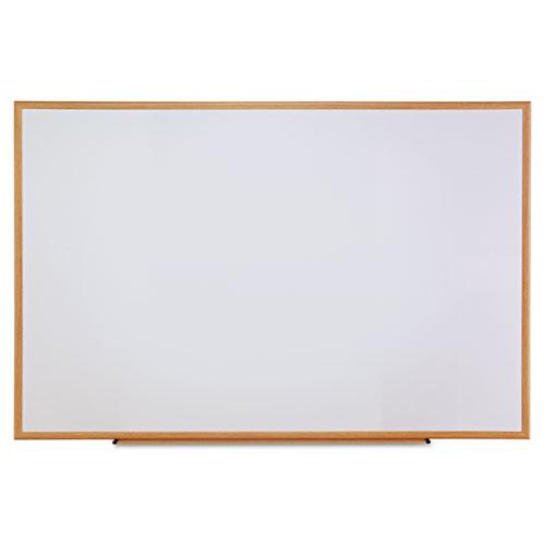 Dry-Erase Board, Melamine, 72 x 48, White, Oak-Finished Frame | by Plexsupply