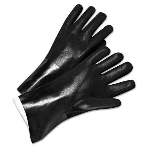 PVC-Coated Jersey-Lined Gloves, 14 in. Long, Black, Men's, 12/Pack