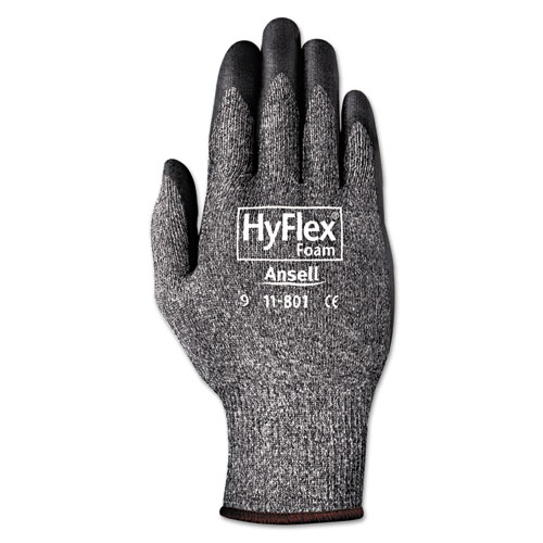 HyFlex Foam Gloves, Dark Gray/Black, Size 10, 12 Pairs