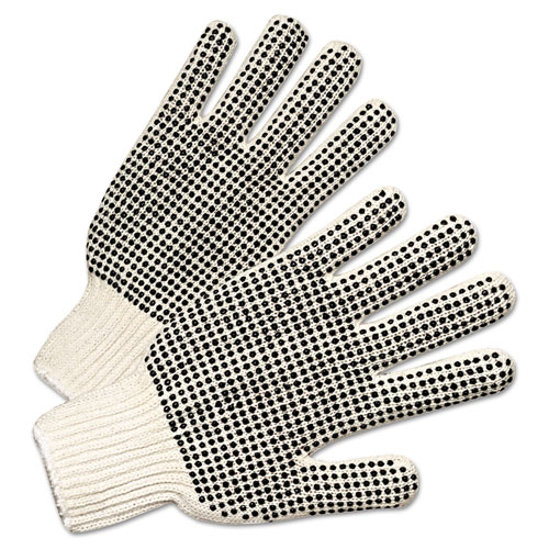 PVC-Dotted String Knit Gloves, Natural White/Black, Large, 12 Pairs