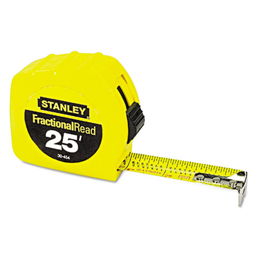 Tape Rule, 1 x 25ft, Steel Blade, Plastic Case, Yellow
