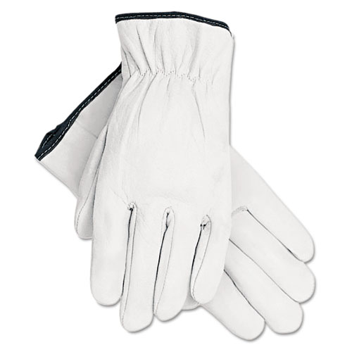 Grain Goatskin Driver Gloves, White, Large, 12 Pairs
