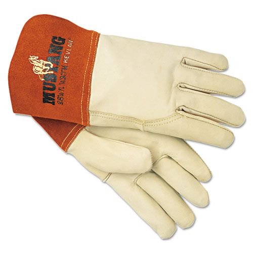Mustang MIG/TIG Leather Welding Gloves, White/Russet, Large, 12 Pairs