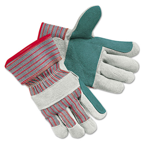 Mens Economy Leather Palm Gloves, White/Red, Large, 12 Pairs