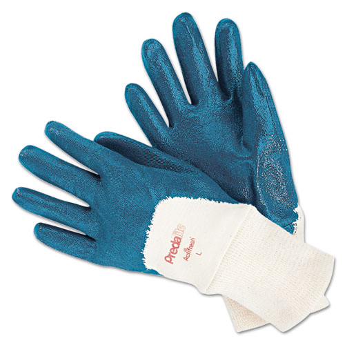 Predalite Nitrile Gloves, Cotton Lined, Blue/White, Large, 12 Pairs