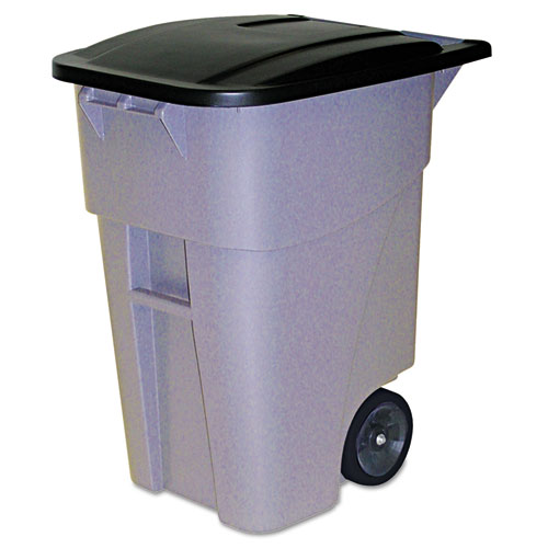 Rubbermaid® Commercial Brute Roll Out Container, With Lid, 50gal, 46 7/8h, Gray