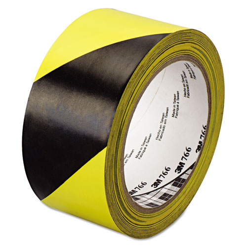 "766 Hazard Warning Tape, Black/Yellow, 2"" x 36yds 