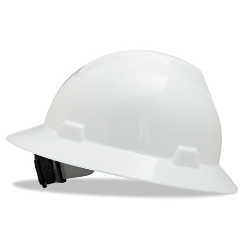 V-Gard Full-Brim Hard Hats, Ratchet Suspension, Size 6 1/2 - 8, White