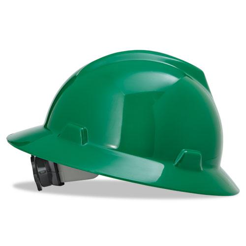 MSA V-Gard Full-Brim Hard Hats, Ratchet Suspension, Size 6 1
