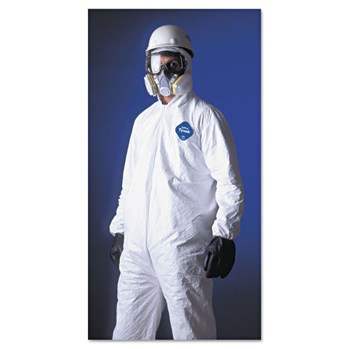 Tyvek Elastic-Cuff Hooded Coveralls, HD Polyethylene, White, Large, 25/Carton