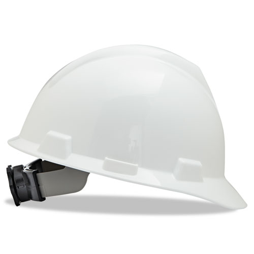 V-Gard Hard Hats w/Ratchet Suspension, Large Size 7 1/2 - 8 1/2, White