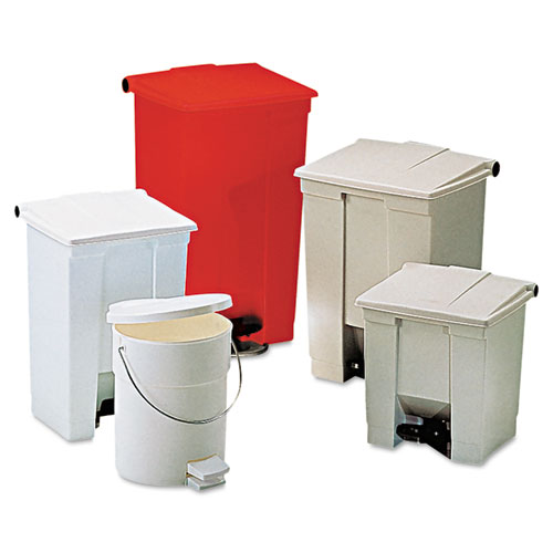 Rubbermaid® Commercial Indoor Utility Step-On Waste Container, Square, Plastic, 8 gal, Beige