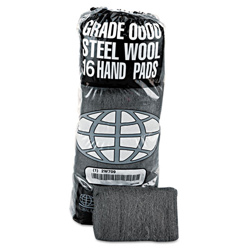 Industrial-Quality Steel Wool Hand Pad, 0000 Super Fine, 16/Pack, 192/Carton