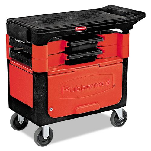 Locking Trades Cart, 330-lb Capacity, Two-Shelf, 19.25w x 38d x 33.38h, Black