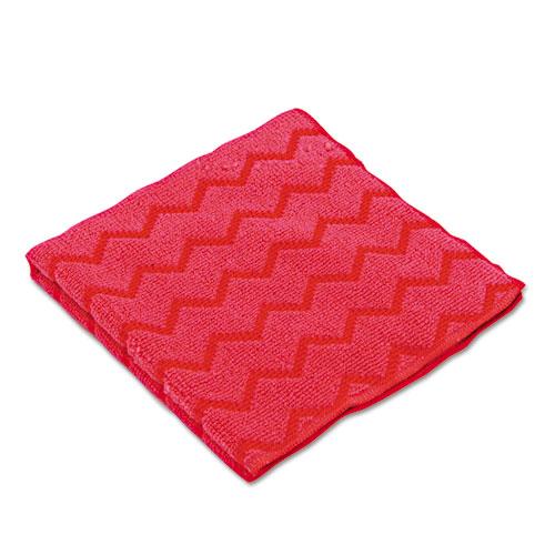 HYGEN Microfiber Cleaning Cloths, 16 x 16, Red, 12/Carton   by Plexsupply
