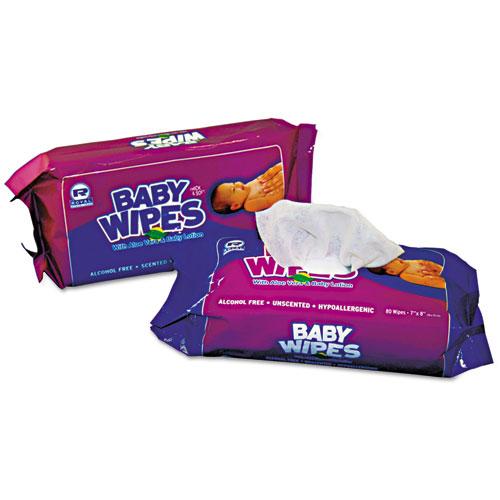 AmerCareRoyal® Baby Wipes Refill Pack, White, 80/Pack, 12 Packs/Carton