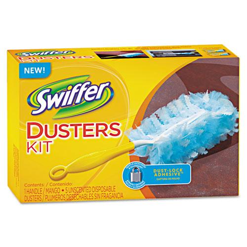 """Swiffer® Dusters Starter Kit, Dust Lock Fiber, 6"""" Handle, Blue/Yellow"""