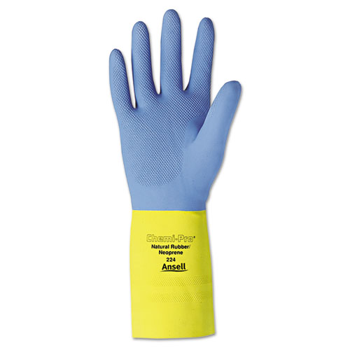 Chemi-Pro Neoprene Gloves, Blue/Yellow, Size 10, 12 Pairs