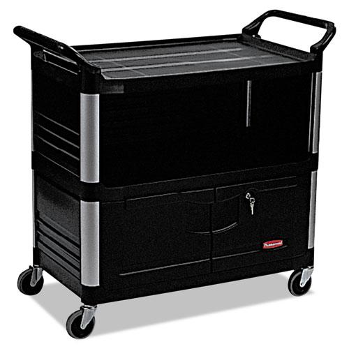 Xtra Equipment Cart, 300-lb Capacity, Three-Shelf, 20.75w x 40.63d x 37.8h, Black