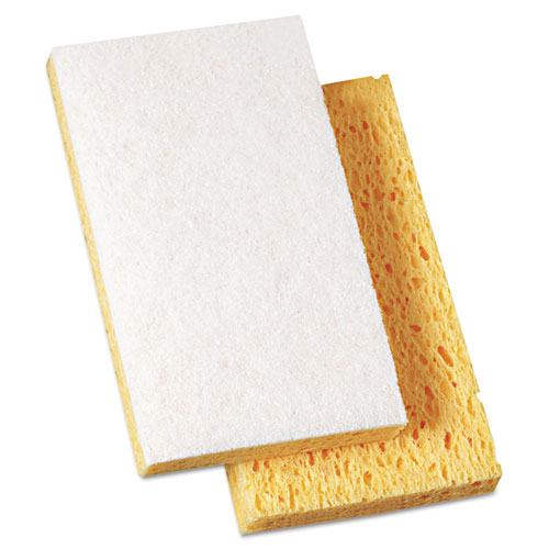 Scrubbing Sponge, Light Duty, 3.6 x 6.1, 0.7 Thick, Yellow/White, Individually Wrapped, 20/Carton