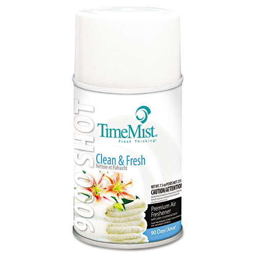 TimeMist® 9000 Shot Metered Air Freshener Refill, Clean N' Fresh, 7.5 oz Aerosol, 4/Carton