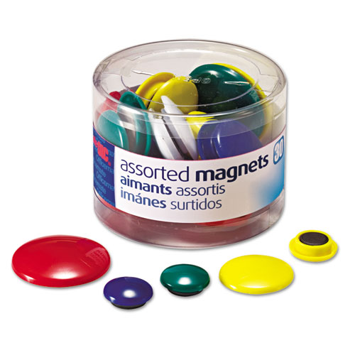 Assorted Magnets, Circles, Assorted Sizes & Colors, 30/Tub | by Plexsupply