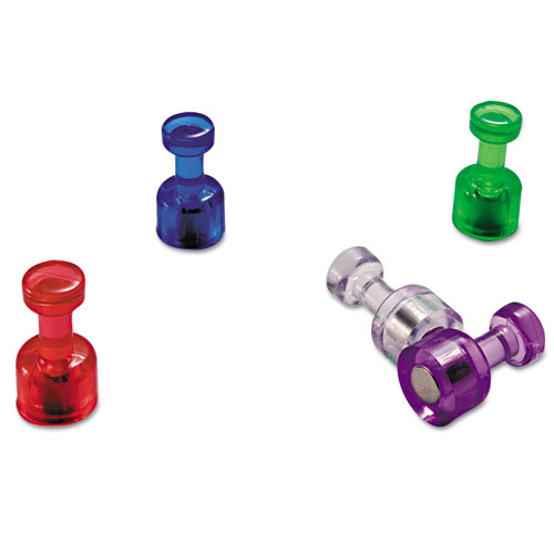 """Officemate Push Pin Magnets, Assorted Translucent, 3/4"""" x 3/8"""", 10 per Pack"""