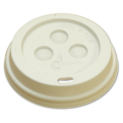 Hot Cup Dome Lids, Fits 8oz Cups, White, 100/Sleeve, 10 Sleeves/Carton 8DOMELID