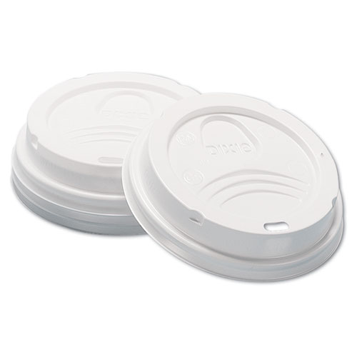 Dome Hot Drink Lids, 8oz Cups, White, 100/Sleeve, 10 Sleeves/Carton D9538