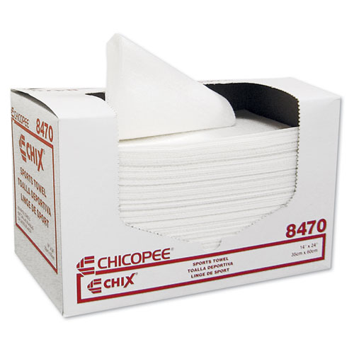 Sports Towels, 14 x 24, White, 100 Towels/Pack, 6 Packs/Carton