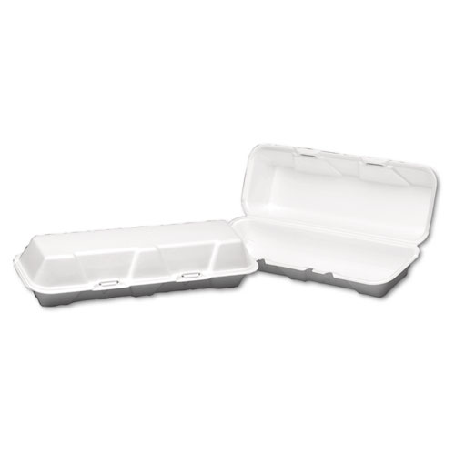 Foam Hinged Hoagie Container, X-Large, 13-1/5x4-1/2x3-1/5, White, 100/BG, 2/CT | by Plexsupply