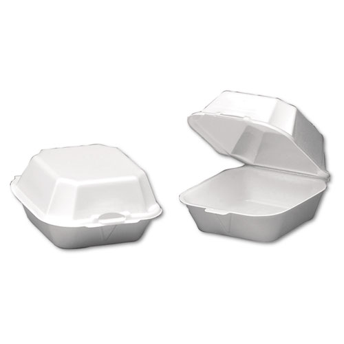 Foam Sandwich Container, Large, 1-Comp, 5 5/8 x 5 3/4 x 3 1/4, White, 500/Carton