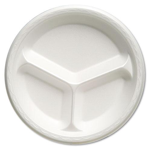 Foam Dinnerware, Plate, 3-Comp, 10 1/4 dia, White, 125/Pack, 4 Packs/Carton