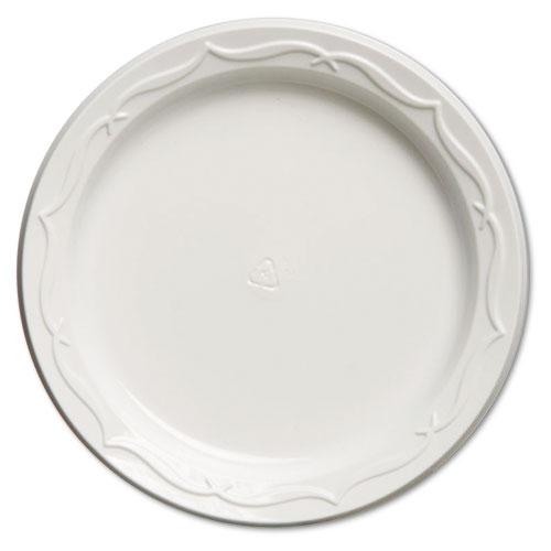 Aristocrat Plastic Plates, 6, White, Round, 125/PK, 8 PK/CT