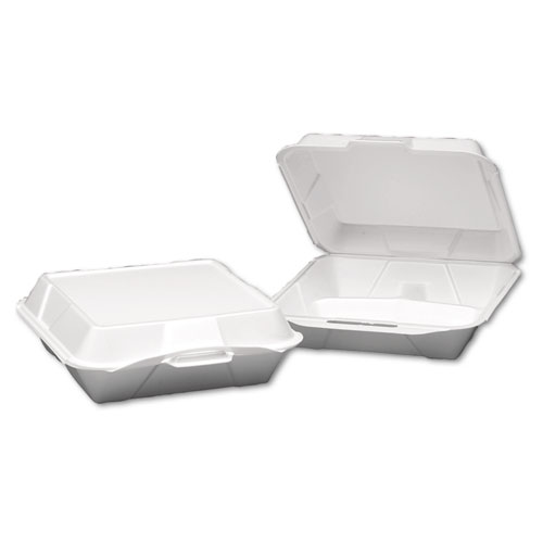 Foam Hinged Container, 3-Compartment, Jumbo, 10-1/4x9-1/4x3-1/4, White, 100/Bag | by Plexsupply
