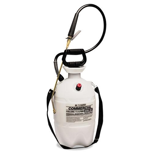 Commercial-Grade Sprayer w/Flat Fan Nozzle, 3 Gallon, Polyethylene, White/Black